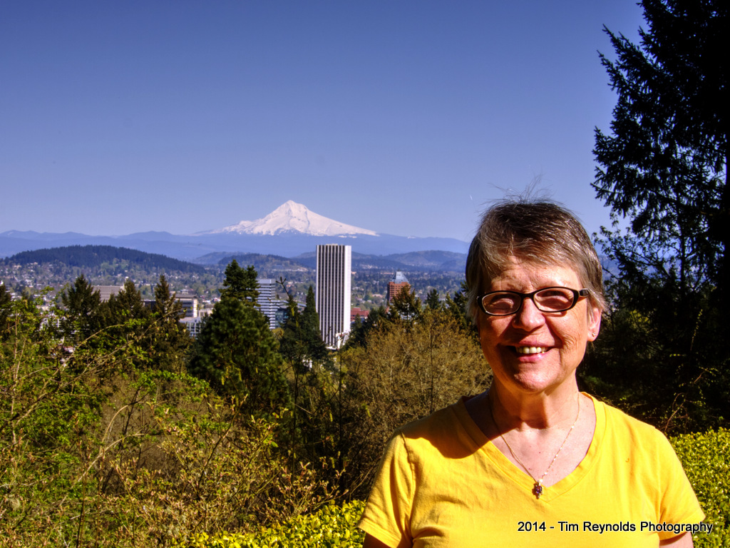 Mom with Mt. Hood in the distance. Portland Japanese Garden, Portland, OR