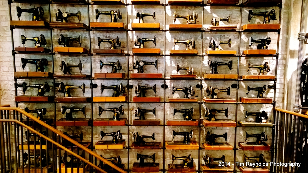 All Saints Spitalfields wall of sewing machines