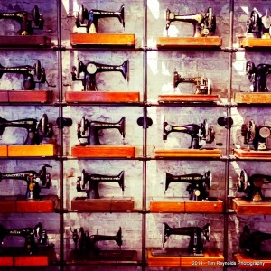 All Saints Spitalfields wall of sewing machines detail